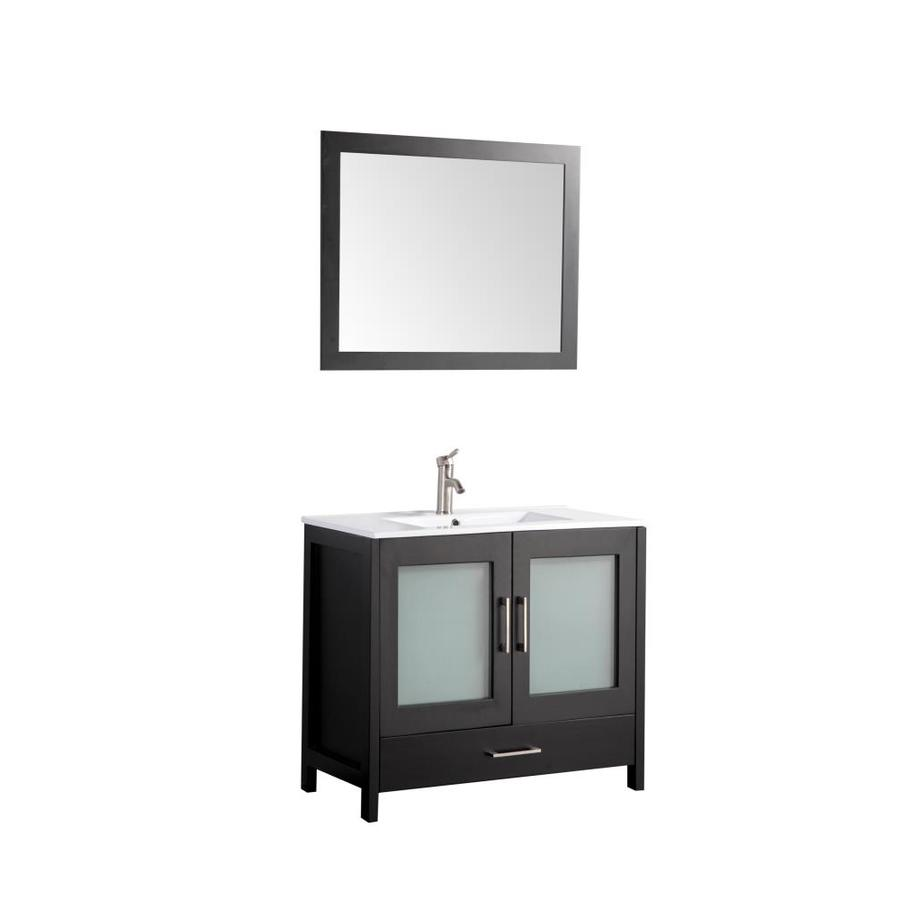 MTD Vanities Argentina Espresso Integral Single Sink Oak Bathroom Vanity with Ceramic Top (Faucet and Mirror Included) (Common: 48-in x 18-in; Actual: 48-in x 18-in)
