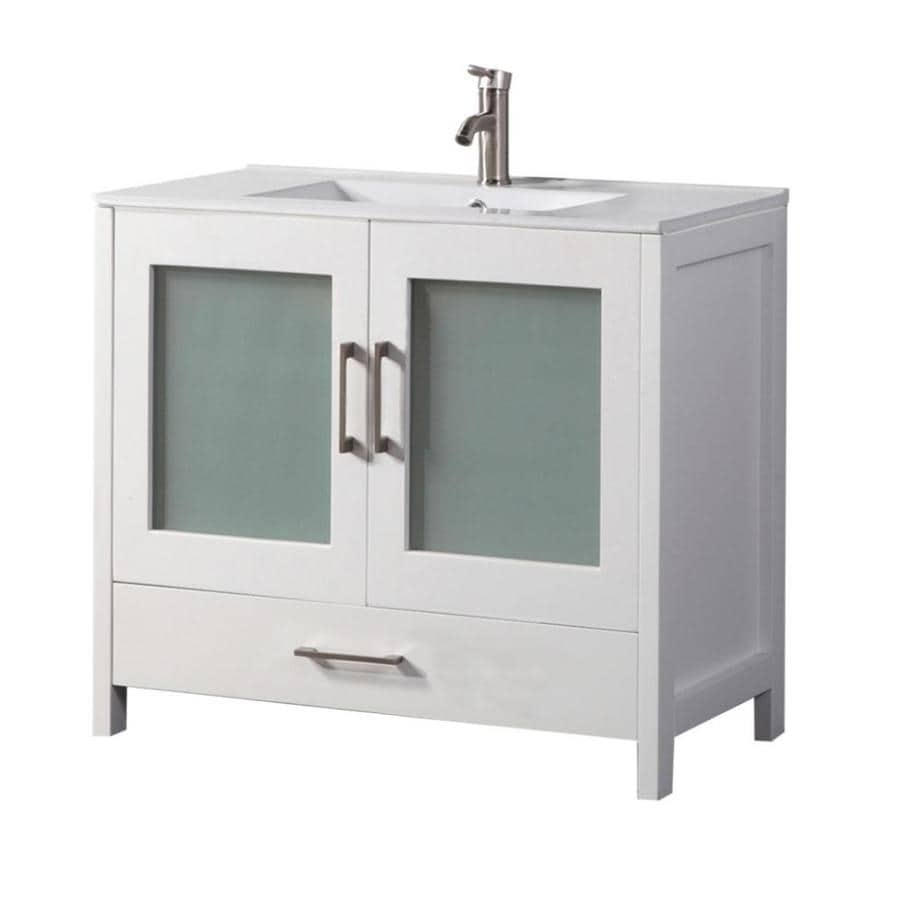 MTD Vanities Argentina White Integral Single Sink Oak Bathroom Vanity with Ceramic Top (Faucet and Mirror Included) (Common: 48-in x 18-in; Actual: 48-in x 18-in)