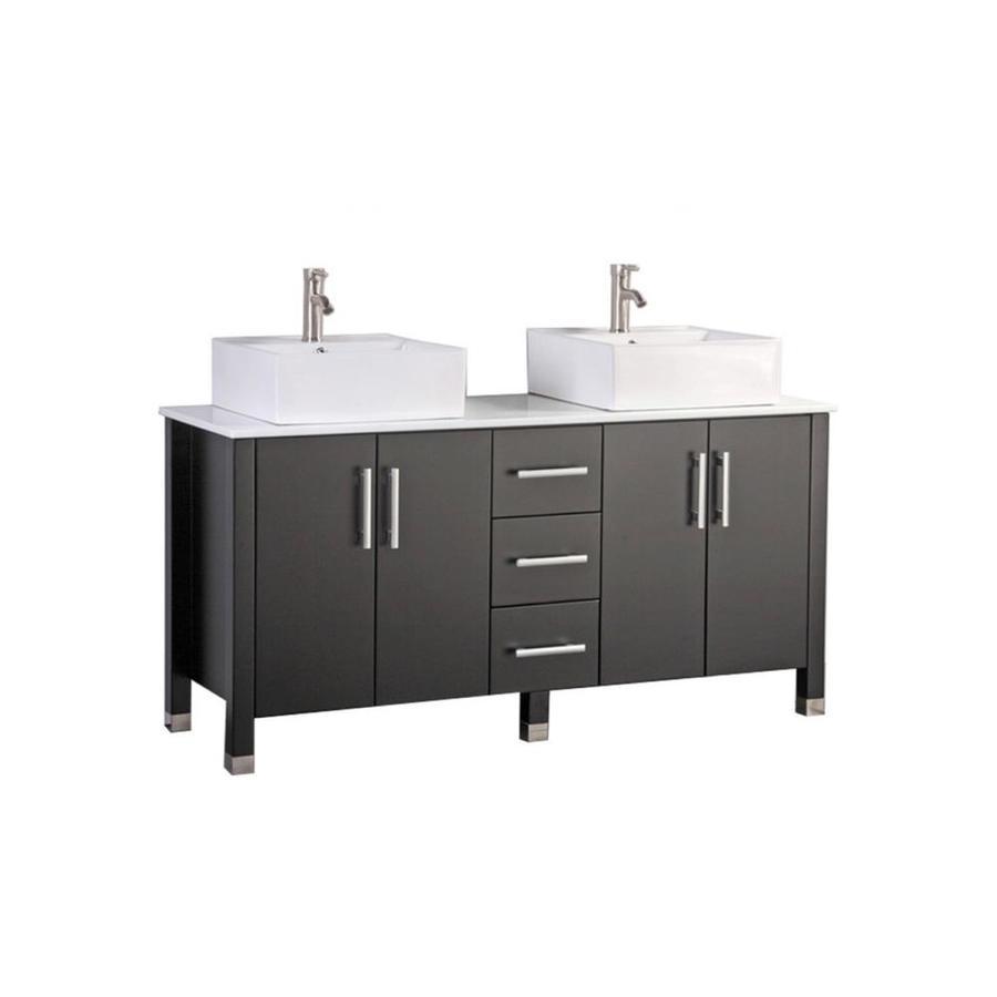 MTD Vanities Aruba Espresso Vessel Double Sink Oak Bathroom Vanity with Engineered Stone Top (Faucet and Mirror Included) (Common: 60-in x 20-in; Actual: 60-in x 19.7-in)