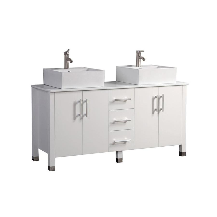 MTD Vanities Aruba White Vessel Double Sink Oak Bathroom Vanity with Engineered Stone Top (Faucet and Mirror Included) (Common: 60-in x 20-in; Actual: 60-in x 19.7-in)