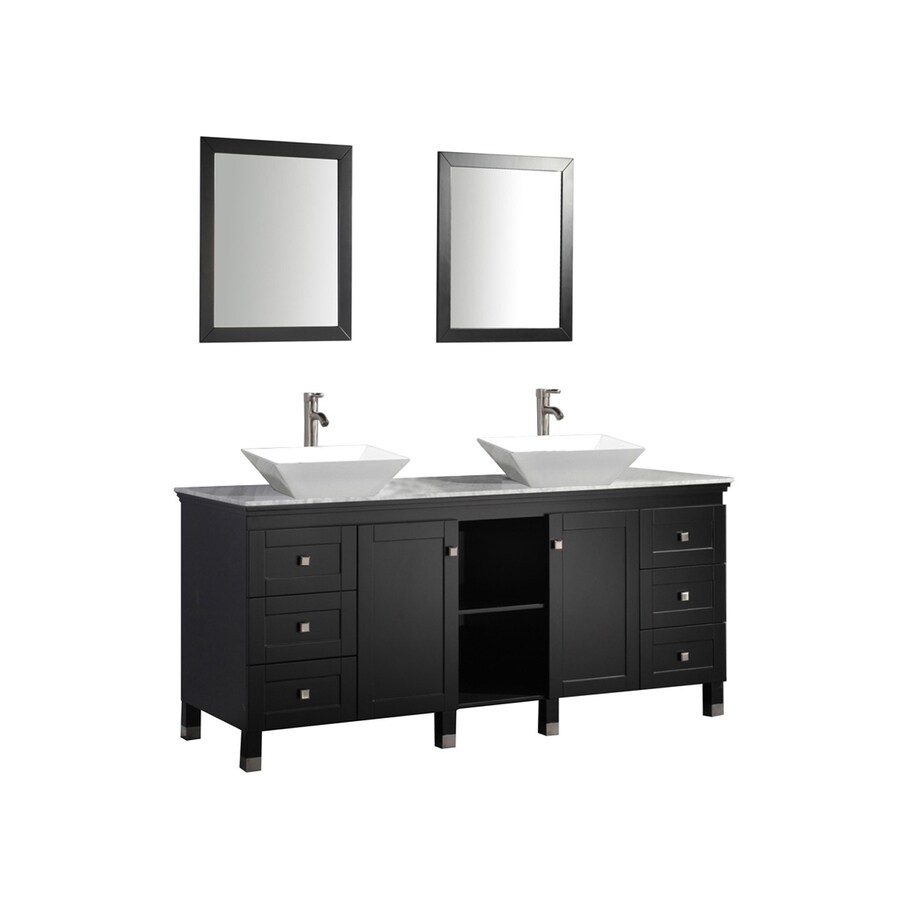 MTD Vanities Belarus Espresso Vessel Double Sink Oak Bathroom Vanity with Natural Marble Top (Faucet and Mirror Included) (Common: 72-in x 22-in; Actual: 72-in x 22-in)