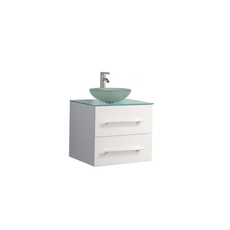 MTD Vanities Cuba White Vessel Single Sink Oak Bathroom Vanity with Glass Top (Faucet and Mirror Included) (Common: 24-in x 20-in; Actual: 24-in x 19.7-in)