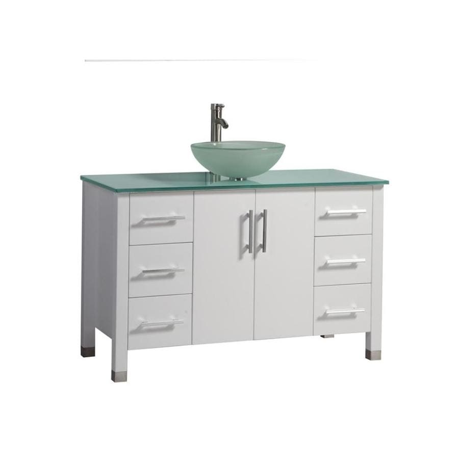 MTD Vanities Cuba White Vessel Single Sink Oak Bathroom Vanity with Glass Top (Faucet and Mirror Included) (Common: 47-in x 20-in; Actual: 47.2-in x 19.7-in)