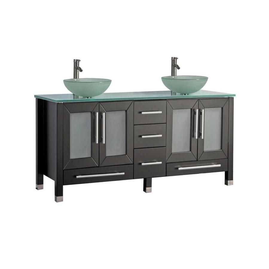 MTD Vanities Cuba Espresso Vessel Double Sink Oak Bathroom Vanity with Glass Top (Faucet and Mirror Included) (Common: 71-in x 20-in; Actual: 71-in x 20.5-in)