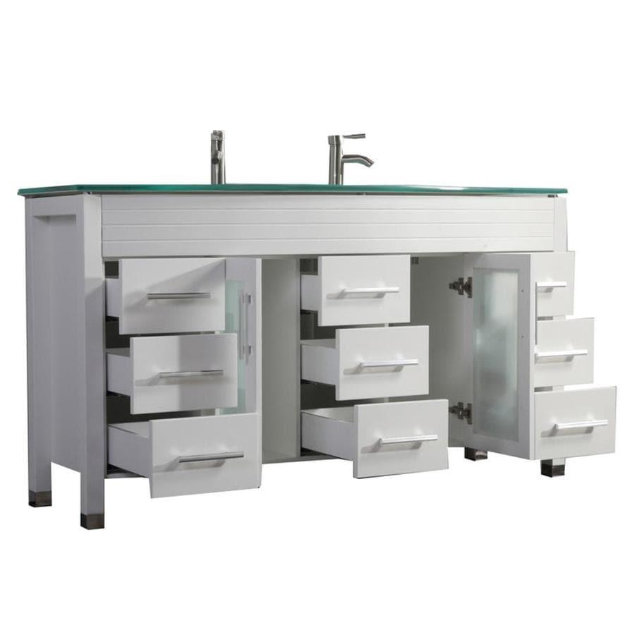 MTD Vanities Figi White Integral Double Sink Oak Bathroom Vanity with Glass Top (Faucet and Mirror Included) (Common: 71-in x 22-in; Actual: 71-in x 22-in)