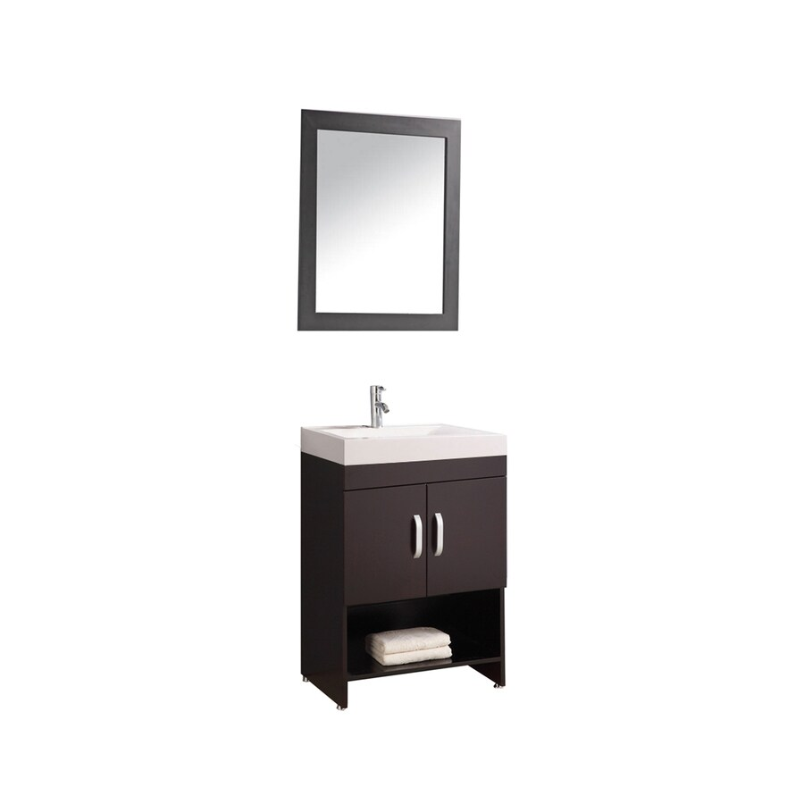 MTD Vanities Greece Espresso Integral Single Sink Oak Bathroom Vanity with Acrylic Top (Faucet and Mirror Included) (Common: 24-in x 19-in; Actual: 24-in x 18.9-in)