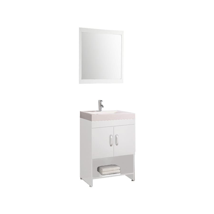 MTD Vanities Greece White Integral Single Sink Oak Bathroom Vanity with Acrylic Top (Faucet and Mirror Included) (Common: 24-in x 19-in; Actual: 24-in x 18.9-in)