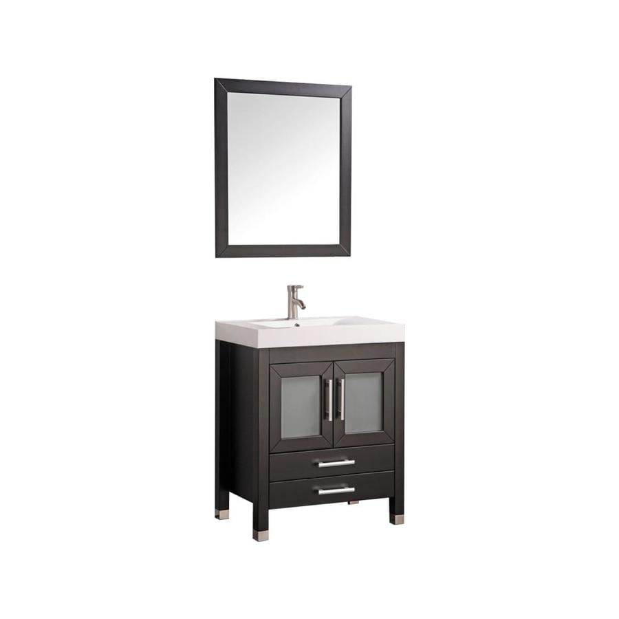 MTD Vanities Greece Espresso Integral Single Sink Oak Bathroom Vanity with Acrylic Top (Faucet and Mirror Included) (Common: 30-in x 19-in; Actual: 29.5-in x 18.9-in)