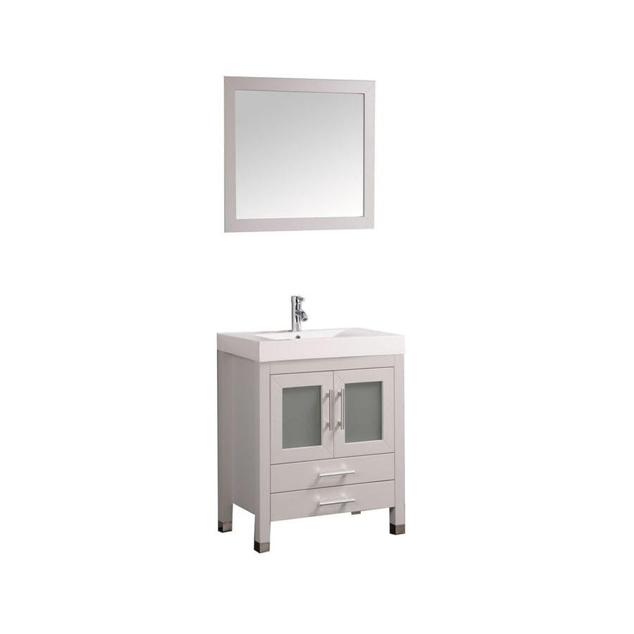 MTD Vanities Greece White Integral Single Sink Oak Bathroom Vanity with Acrylic Top (Faucet and Mirror Included) (Common: 30-in x 19-in; Actual: 29.5-in x 18.9-in)
