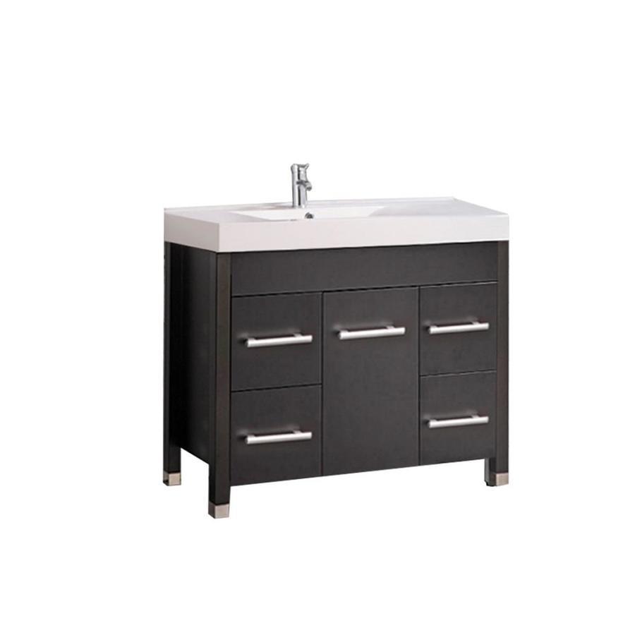 MTD Vanities Greece Espresso Integral Single Sink Oak Bathroom Vanity with Acrylic Top (Faucet and Mirror Included) (Common: 36-in x 19-in; Actual: 35.4-in x 18.9-in)