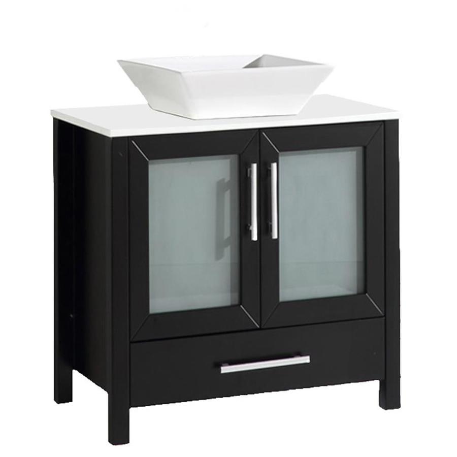 MTD Vanities Jordan Espresso Vessel Double Sink Oak Bathroom Vanity with Quartz Top (Faucet and Mirror Included) (Common: 30-in x 18-in; Actual: 30-in x 18-in)