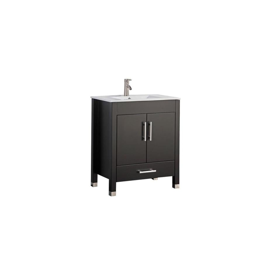 MTD Vanities Monaco Espresso Integral Single Sink Oak Bathroom Vanity with Engineered Stone Top (Faucet and Mirror Included) (Common: 36-in x 18-in; Actual: 36-in x 18.1-in)