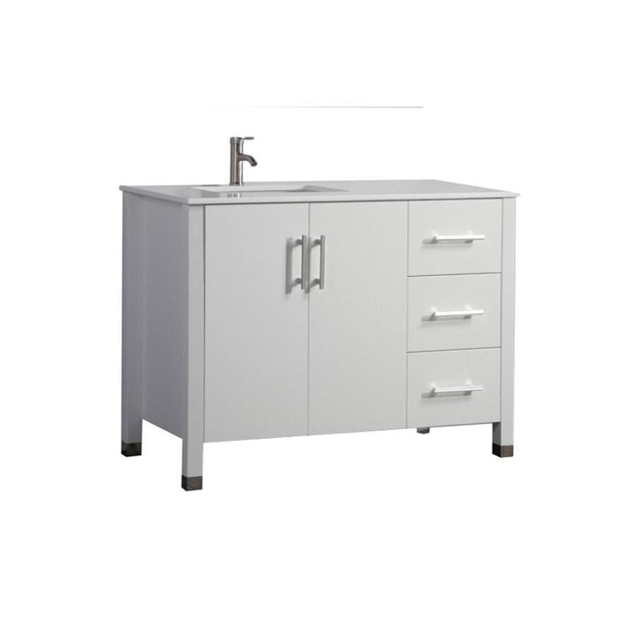 MTD Vanities Monaco White Undermount Single Sink Oak Bathroom Vanity with Engineered Stone Top (Faucet and Mirror Included) (Common: 40-in x 22-in; Actual: 40-in x 22-in)