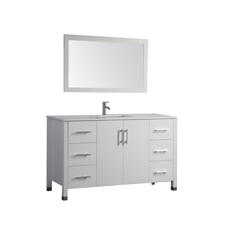MTD Vanities Monaco White Undermount Single Sink Oak Bathroom Vanity with Engineered Stone Top (Faucet and Mirror Included) (Common: 48-in x 20-in; Actual: 47.2-in x 19.7-in)