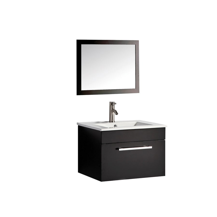 MTD Vanities Nepal Espresso Integral Single Sink Oak Bathroom Vanity with Engineered Stone Top (Faucet and Mirror Included) (Common: 24-in x 18-in; Actual: 24-in x 18.1-in)