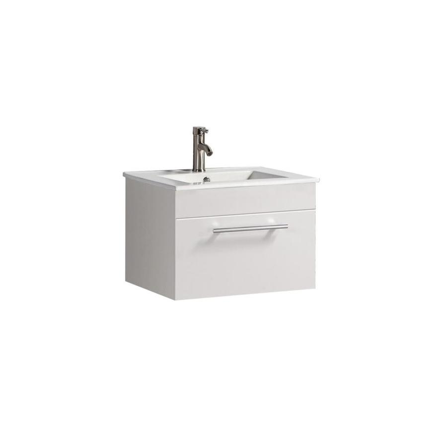 MTD Vanities Nepal White Integral Single Sink Oak Bathroom Vanity with Engineered Stone Top (Faucet and Mirror Included) (Common: 24-in x 18-in; Actual: 24-in x 18.1-in)