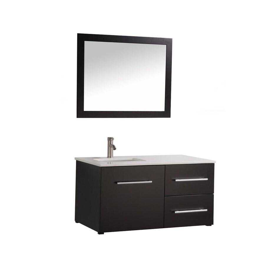 MTD Vanities Nepal Espresso Undermount Single Sink Oak Bathroom Vanity with Engineered Stone Top (Faucet and Mirror Included) (Common: 41-in x 18-in; Actual: 41-in x 18.1-in)