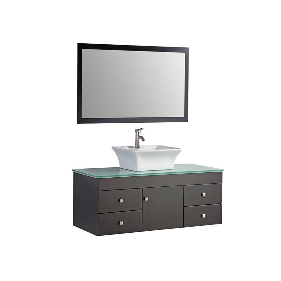 MTD Vanities Nepal Espresso Vessel Single Sink Oak Bathroom Vanity with Glass Top (Faucet and Mirror Included) (Common: 48-in x 22-in; Actual: 48-in x 22-in)