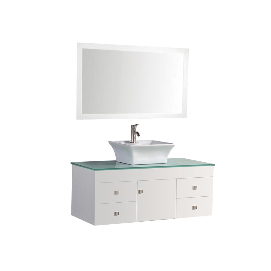 MTD Vanities Nepal White Vessel Single Sink Oak Bathroom Vanity with Glass Top (Faucet and Mirror Included) (Common: 48-in x 22-in; Actual: 48-in x 22-in)