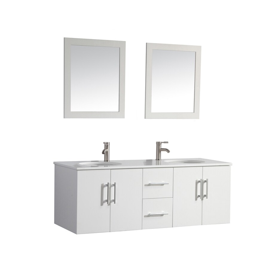 MTD Vanities Nepal White Undermount Double Sink Oak Bathroom Vanity with Engineered Stone Top (Faucet and Mirror Included) (Common: 60-in x 22-in; Actual: 59.1-in x 21.7-in)
