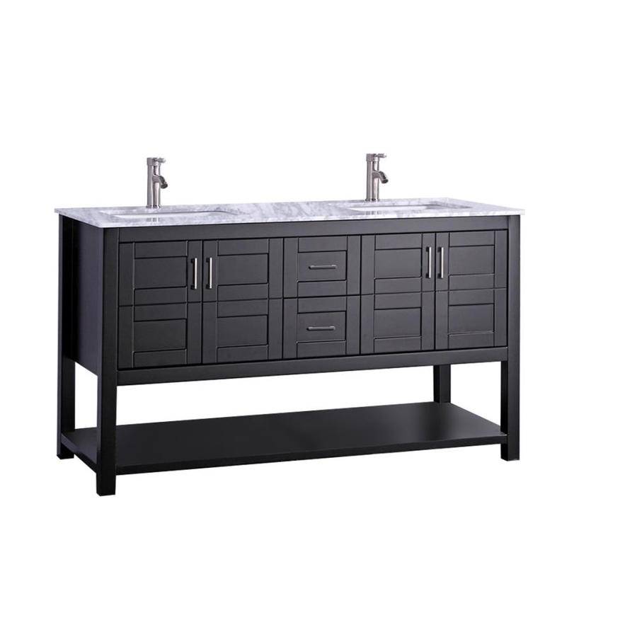 MTD Vanities Norway Espresso Undermount Double Sink Oak Bathroom Vanity with Natural Marble Top (Faucet and Mirror Included) (Common: 60-in x 22-in; Actual: 60-in x 22-in)