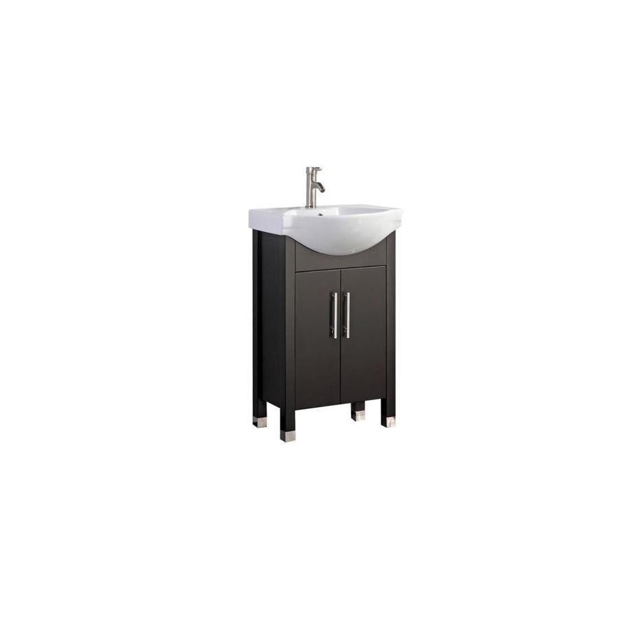 MTD Vanities Peru Espresso Integral Single Sink Oak Bathroom Vanity with Ceramic Top (Faucet and Mirror Included) (Common: 20-in x 19-in; Actual: 20-in x 18.5-in)