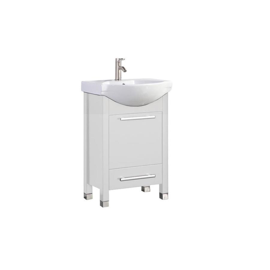 MTD Vanities Peru White Integral Single Sink Oak Bathroom Vanity with Ceramic Top (Faucet and Mirror Included) (Common: 24-in x 19-in; Actual: 23.5-in x 18.5-in)