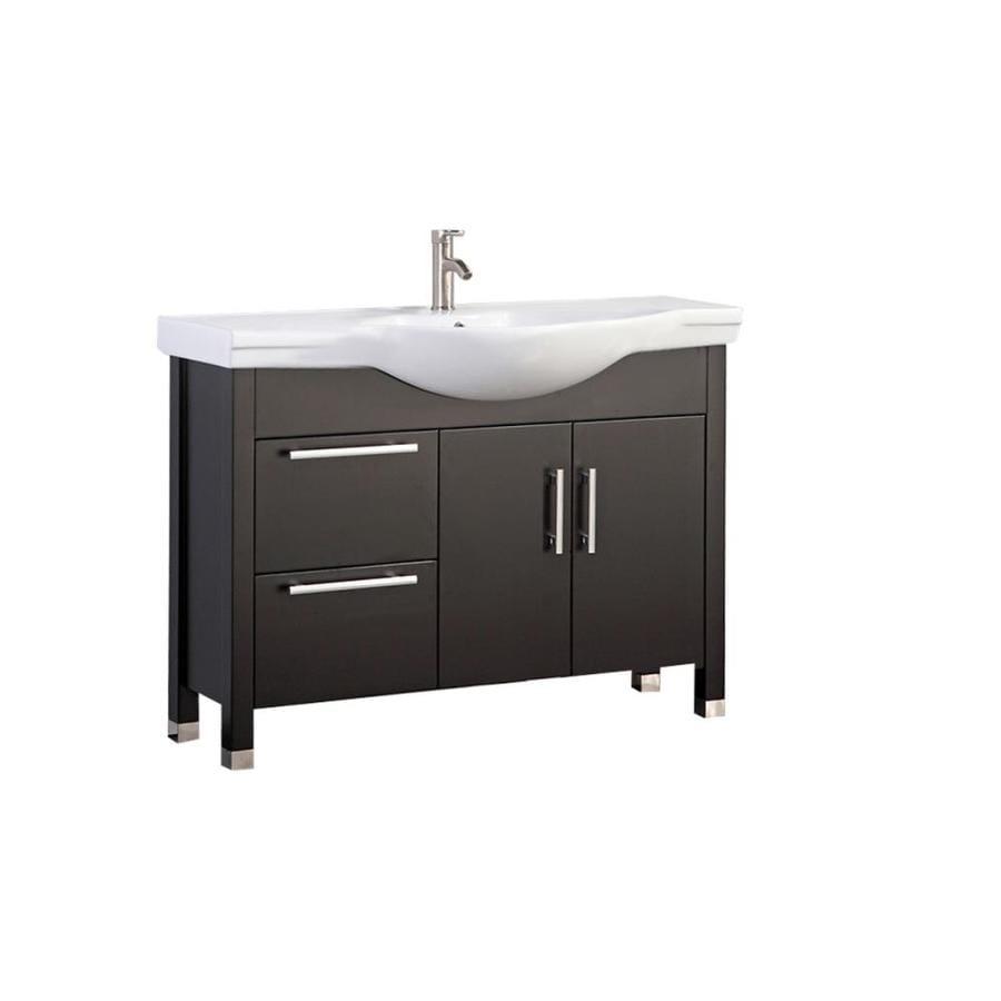 MTD Vanities Peru Espresso Integral Single Sink Oak Bathroom Vanity with Ceramic Top (Faucet and Mirror Included) (Common: 40-in x 18-in; Actual: 40-in x 18.25-in)