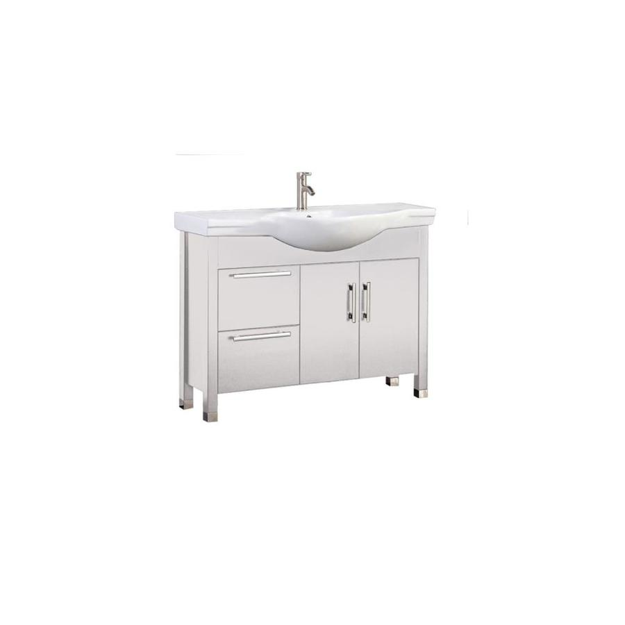 MTD Vanities Peru White Integral Single Sink Oak Bathroom Vanity with Ceramic Top (Faucet and Mirror Included) (Common: 40-in x 18-in; Actual: 40-in x 18.25-in)