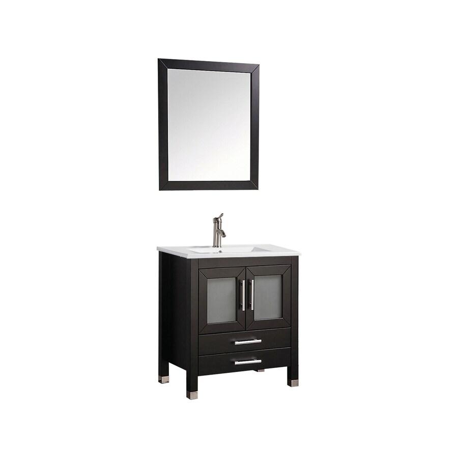 MTD Vanities Sweden Espresso Integral Single Sink Oak Bathroom Vanity with Ceramic Top (Faucet and Mirror Included) (Common: 30-in x 18-in; Actual: 30-in x 18.5-in)