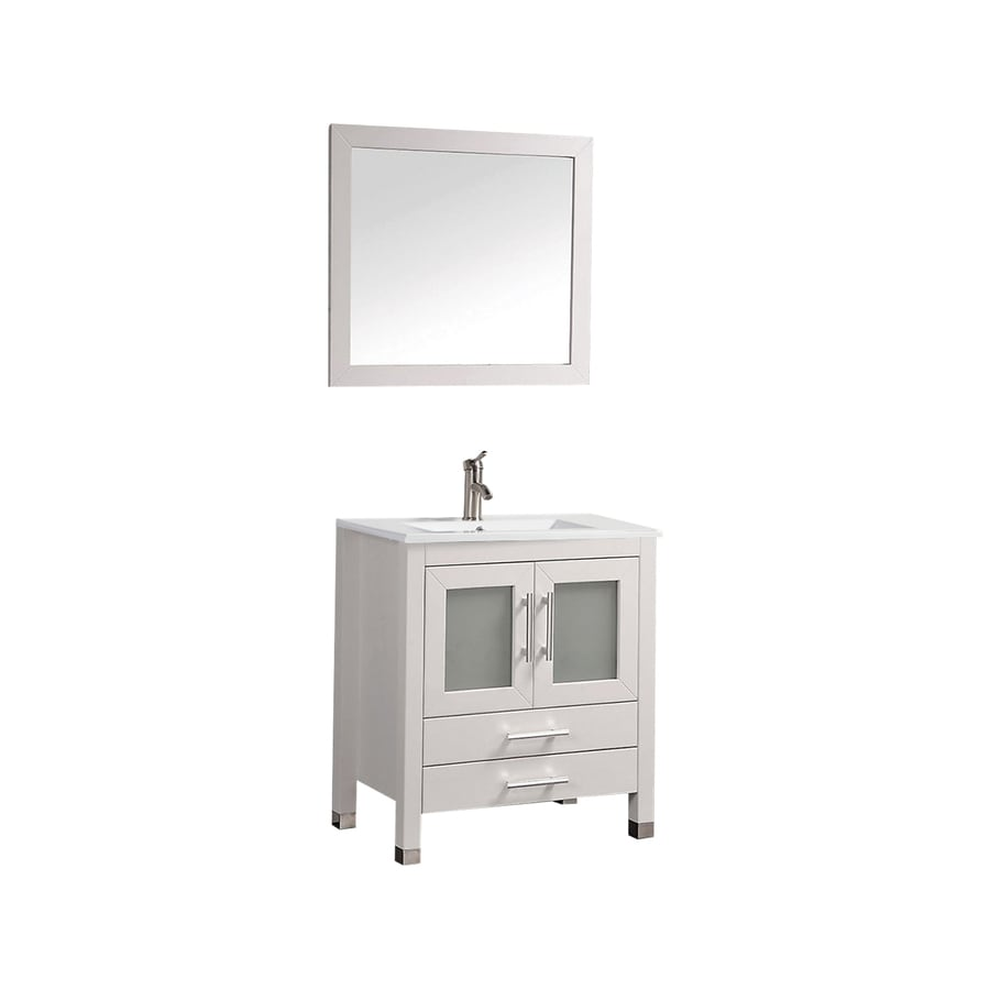 MTD Vanities Sweden White Integral Single Sink Oak Bathroom Vanity with Ceramic Top (Faucet and Mirror Included) (Common: 30-in x 18-in; Actual: 30-in x 18.5-in)