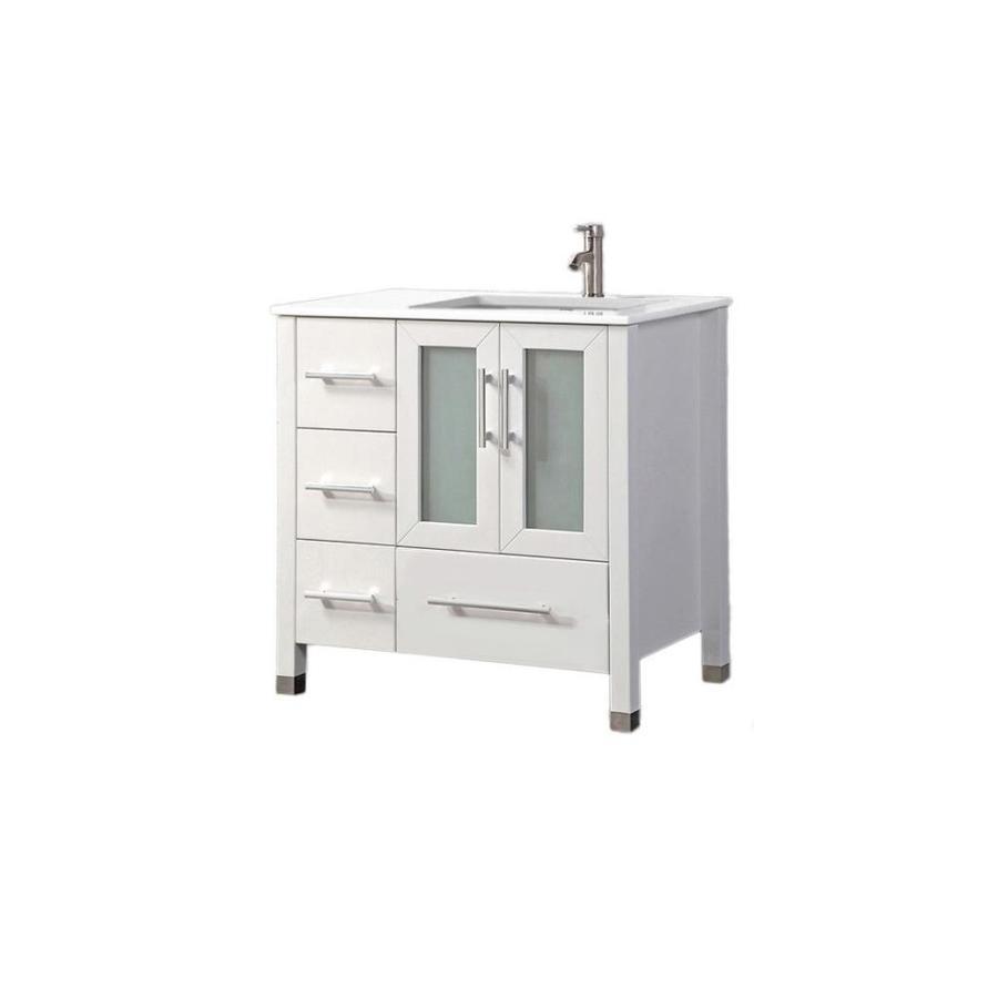 MTD Vanities Sweden White Undermount Single Sink Oak Bathroom Vanity with Ceramic Top (Faucet and Mirror Included) (Common: 36-in x 22-in; Actual: 36.2-in x 21.7-in)