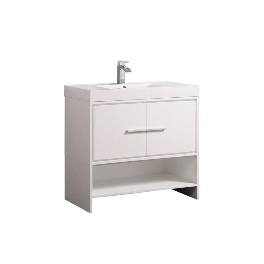 MTD Vanities Cypress White Integral Single Sink Oak Bathroom Vanity with Acrylic Top (Faucet and Mirror Included) (Common: 36-in x 18-in; Actual: 36-in x 18-in)