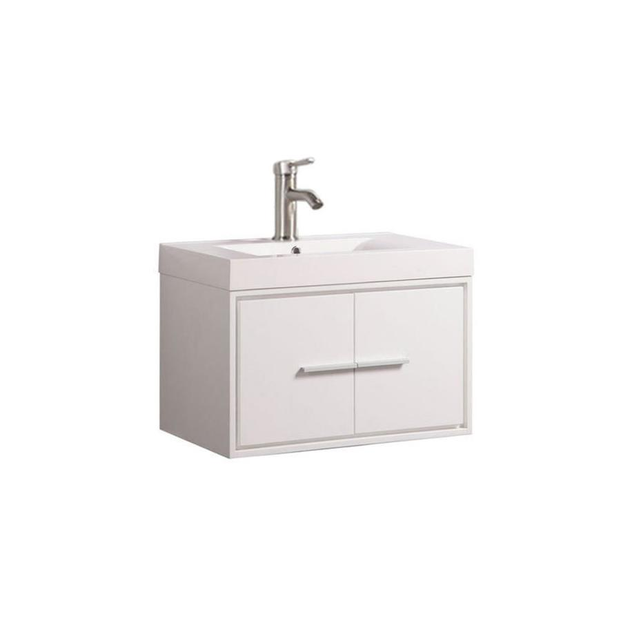MTD Vanities Cypress White Integral Single Sink Oak Bathroom Vanity with Acrylic Top (Faucet and Mirror Included) (Common: 24-in x 18-in; Actual: 24-in x 18-in)
