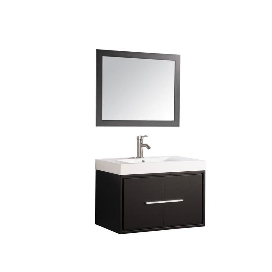 MTD Vanities Cypress Espresso Integral Single Sink Oak Bathroom Vanity with Acrylic Top (Faucet and Mirror Included) (Common: 30-in x 18-in; Actual: 30-in x 18-in)