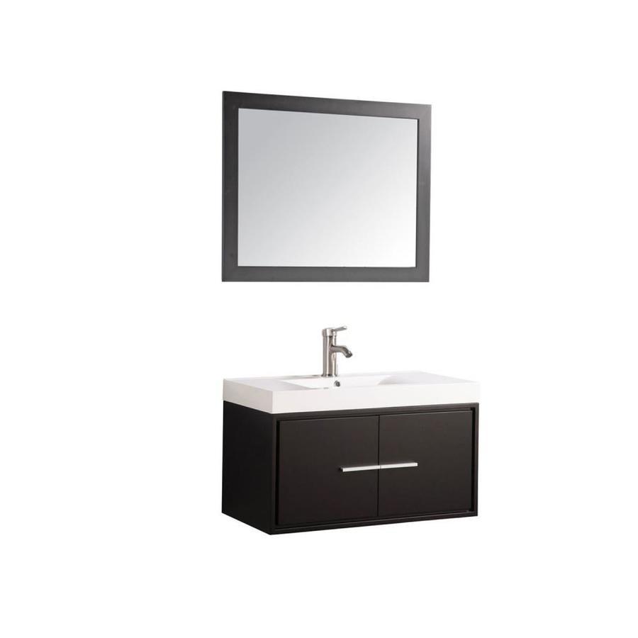 MTD Vanities Cypress Espresso Integral Single Sink Oak Bathroom Vanity with Acrylic Top (Faucet and Mirror Included) (Common: 36-in x 18-in; Actual: 36-in x 18-in)