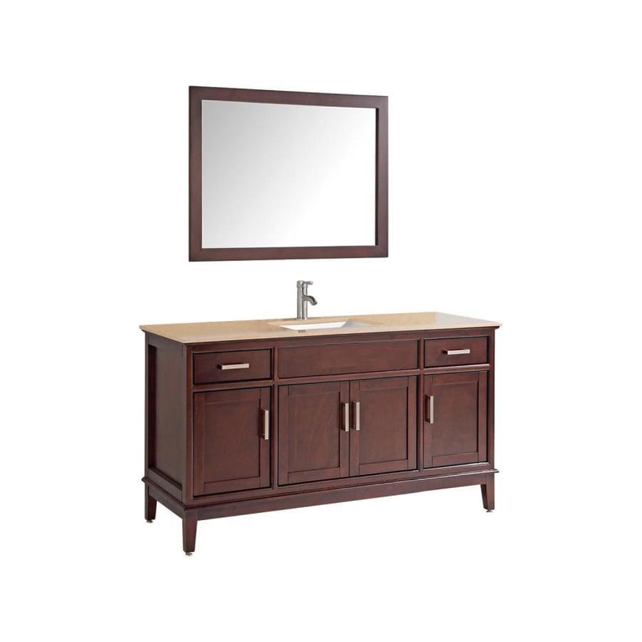 MTD Vanities Sierra Tobacco Undermount Single Sink Oak Bathroom Vanity with Natural Marble Top (Faucet and Mirror Included) (Common: 48-in x 22-in; Actual: 48-in x 22-in)