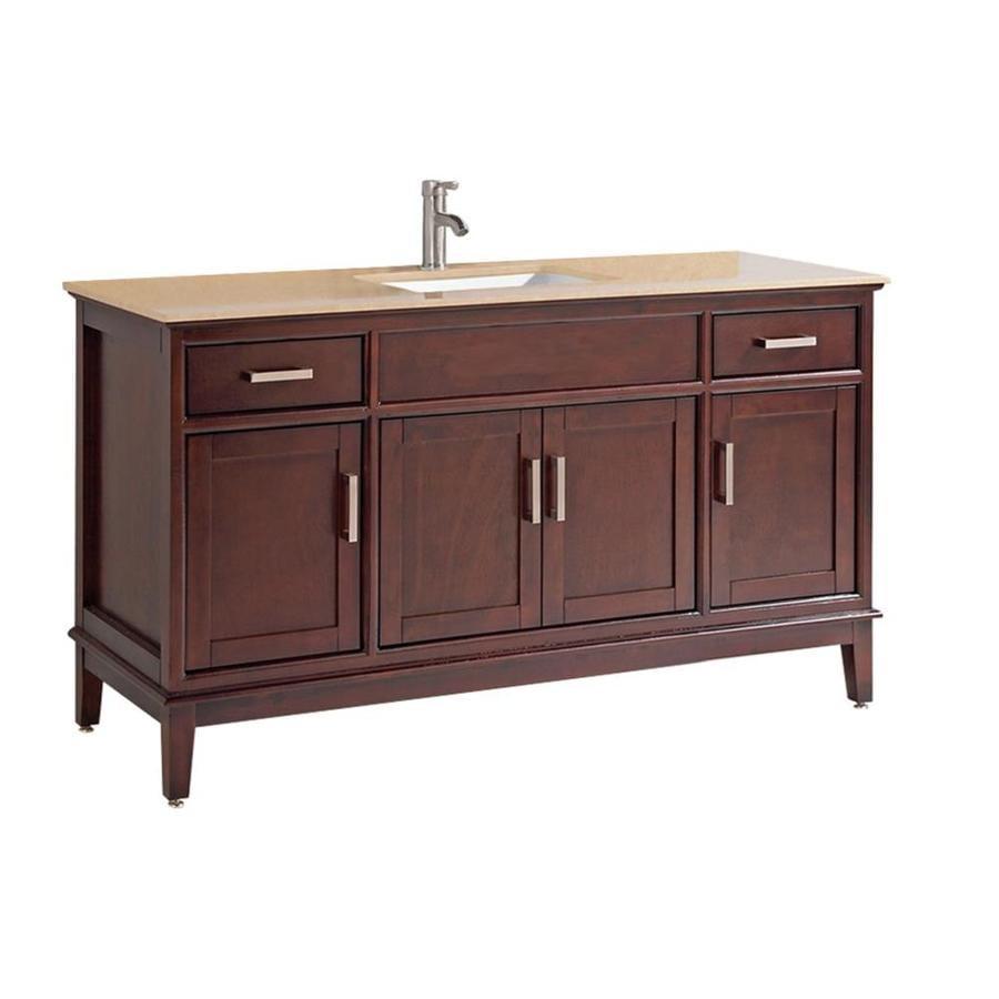 MTD Vanities Sierra Tobacco Undermount Single Sink Oak Bathroom Vanity with Natural Marble Top (Faucet and Mirror Included) (Common: 60-in x 22-in; Actual: 60-in x 22-in)