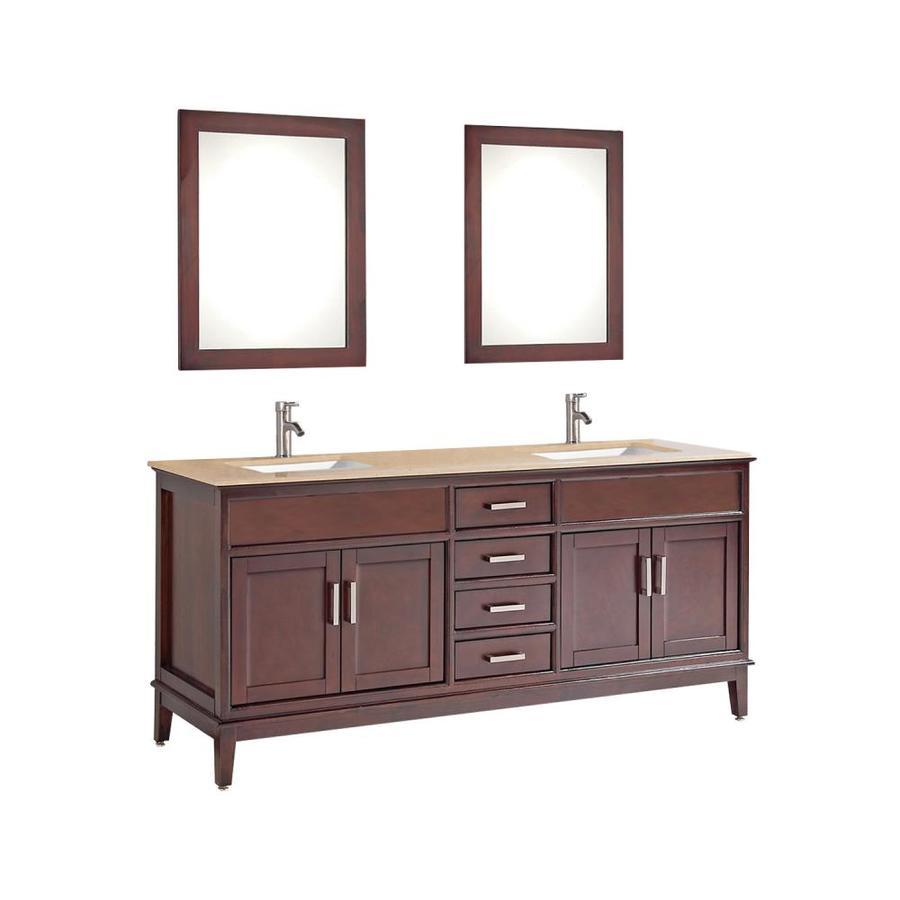 MTD Vanities Sierra Tobacco Undermount Double Sink Oak Bathroom Vanity with Natural Marble Top (Faucet and Mirror Included) (Common: 72-in x 22-in; Actual: 72-in x 22-in)