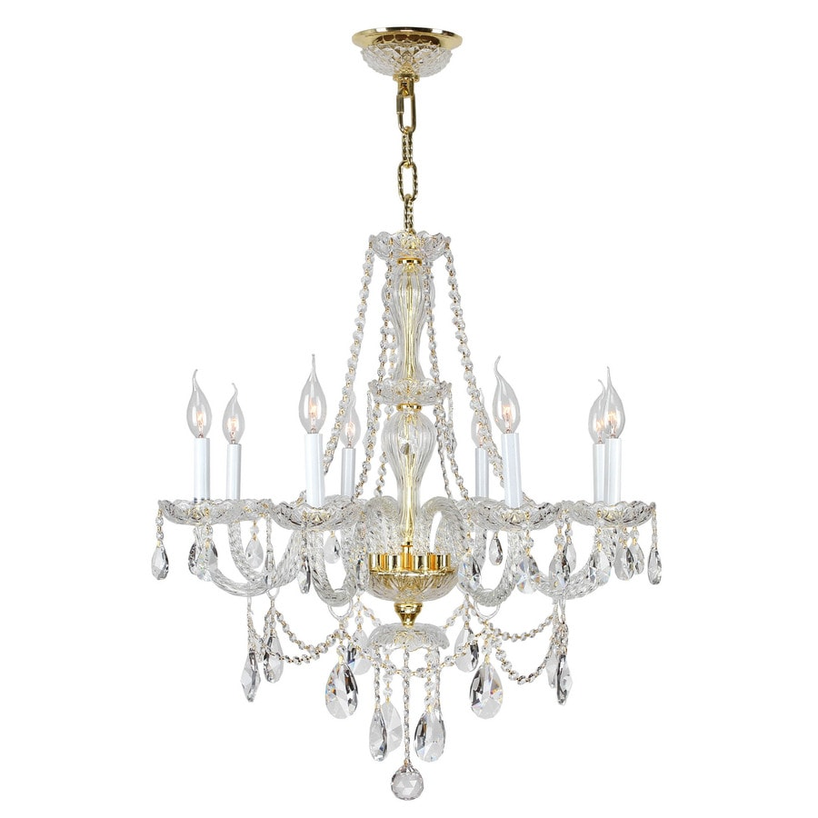Worldwide Lighting Provence 28-in 8-Light Polished Gold Crystal Candle Chandelier
