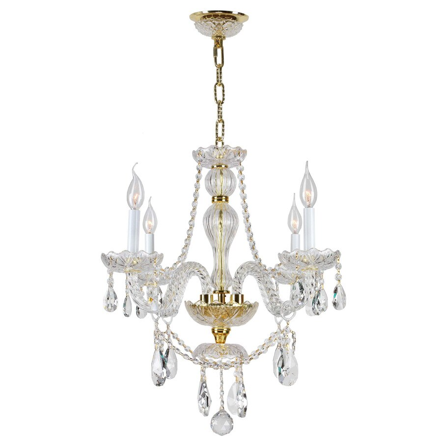 Worldwide Lighting Provence 23-in 4-Light Polished Gold Crystal Candle Chandelier