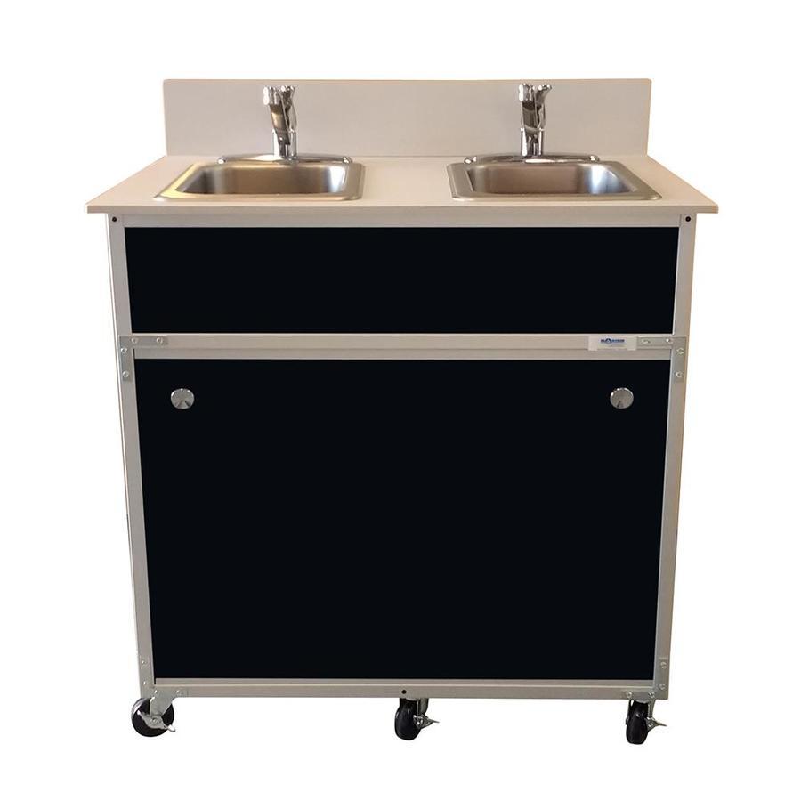MONSAM Black Double-Basin Stainless Steel Portable Sink
