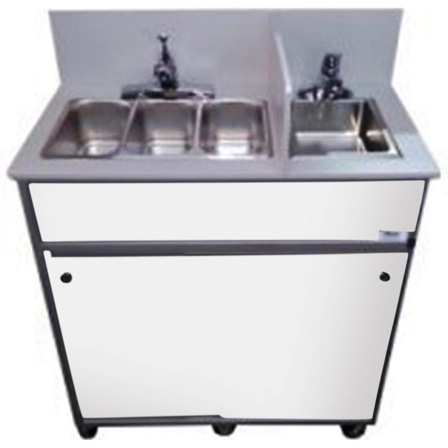 MONSAM White Quadruple-Basin Stainless Steel Portable Sink