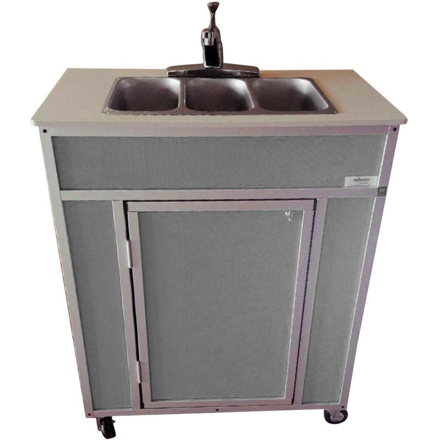 MONSAM Gray Triple-Basin Stainless Steel Portable Sink