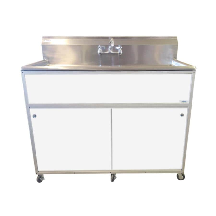 MONSAM White Single-Basin Stainless Steel Portable Sink