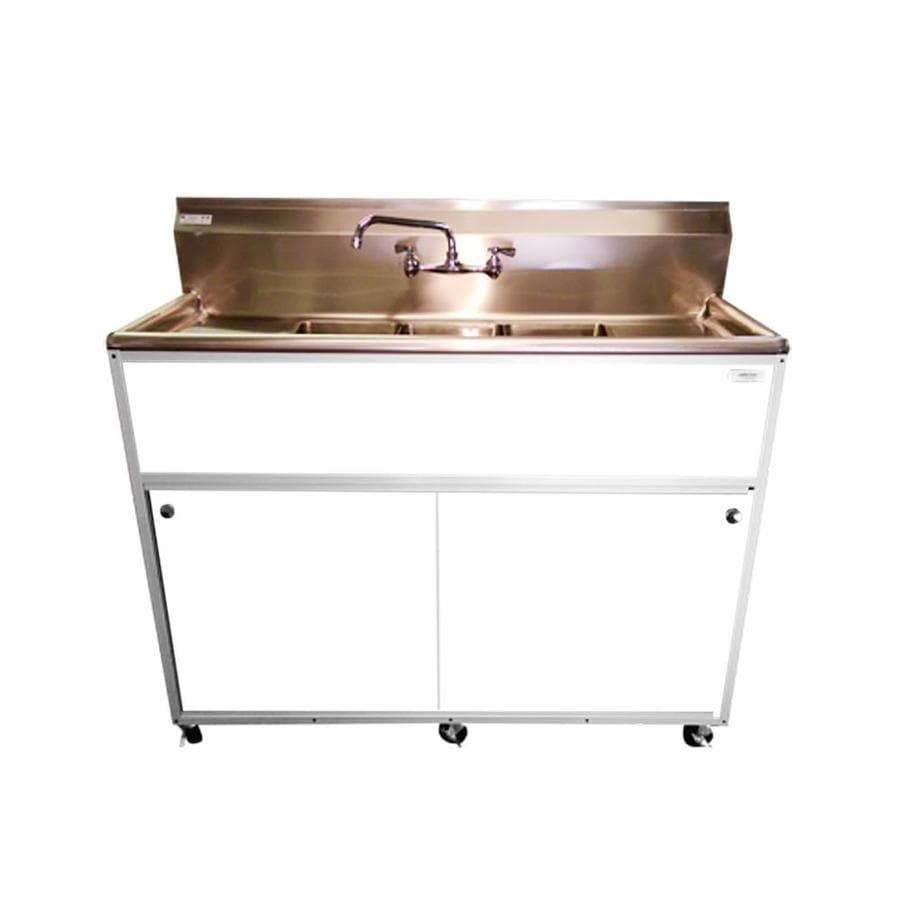 Portable Kitchen Sink : ... MONSAM White Triple-Basin Stainless Steel Portable Sink at Lowes.com
