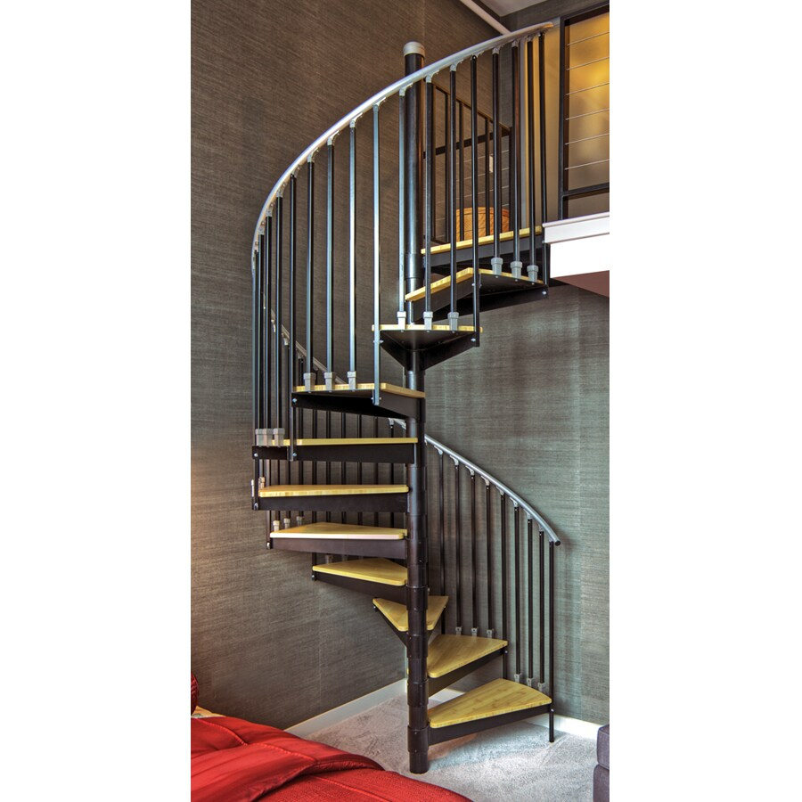 The Iron Shop Ontario 48-in x 10.25-ft Black Spiral Staircase Kit
