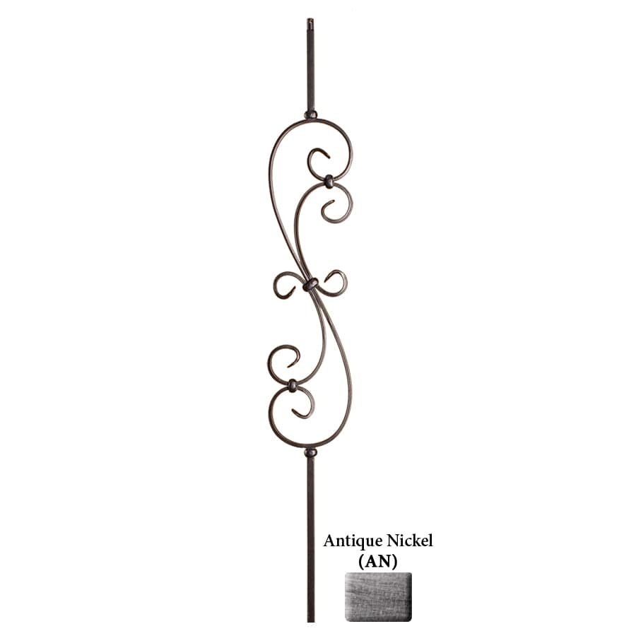 House of Forgings Solid 44-in Antique Nickel Wrought Iron Scroll Stair Baluster