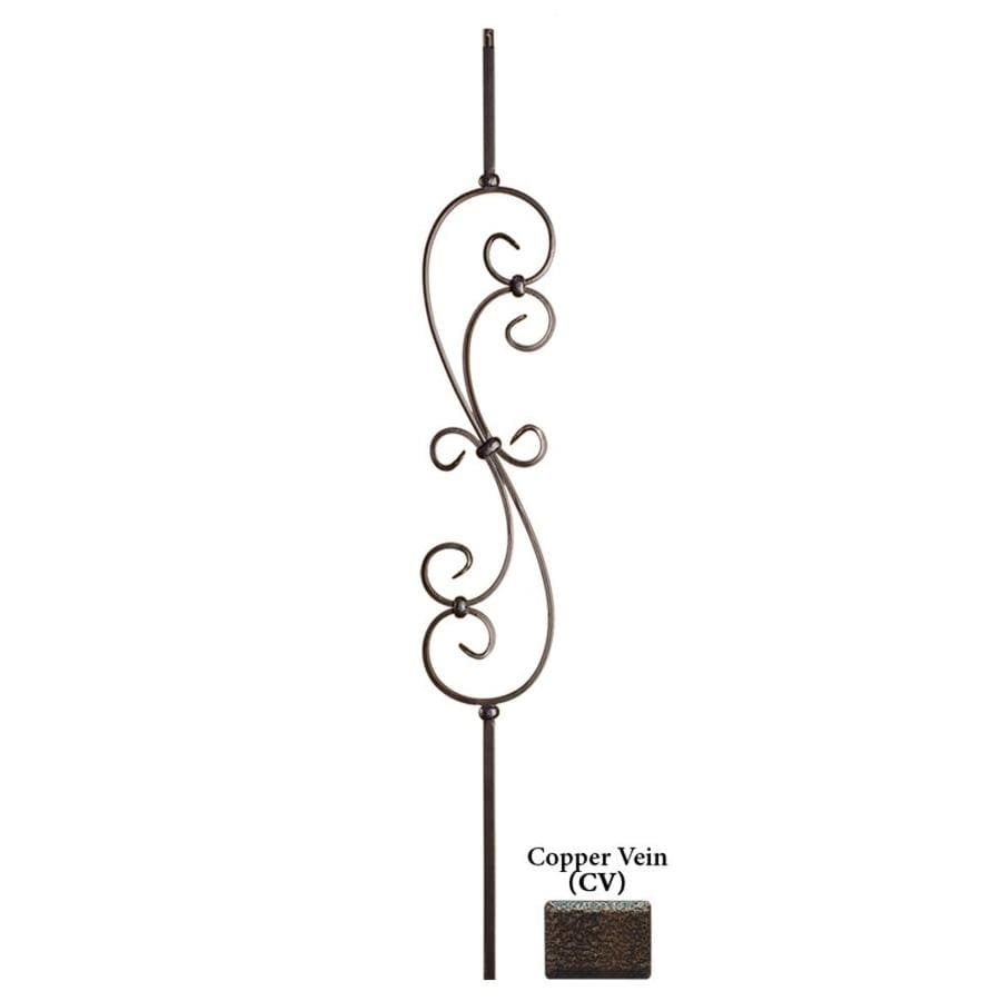 House of Forgings Hollow 44-in Copper Vein Wrought Iron Scroll Stair Baluster