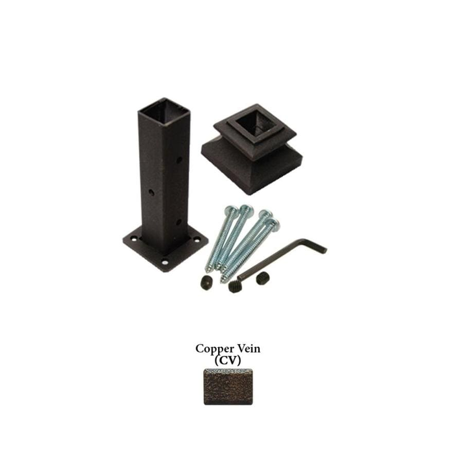 House of Forgings Square Copper Vein Wrought Iron Newel Post Installation Kit